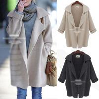 New 2014 Fashion women Autumn Winter Warm cardigan sweater loose long Plus size coat jacket