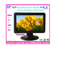"""wholesale ! 10"""" touch  monitor  hdmi /AV/TV with 16:9 wide TFT LED 1024x600 HD Display+free shipping!"""