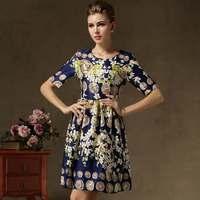 New Hot 2014 Summer Autumn Women Girls Vintage Elegant Slim Flower Printed Knee-length Casual Dresses
