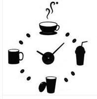 10 sets free shipping Europe style Gustless coffee juice cup acrylic diy clock wall clock fashion acrylic combination clocks