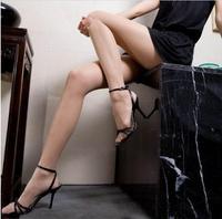 China Famous Brand LangSha Women's All Matching Thin Slim Dress 83.7%Nylon+16.3%Spandex Pantyhose Carnation/Black