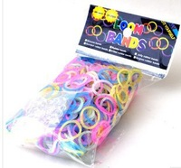 20bags/lots Newest Style Transparent colorful rubber bands Loom rubber Loom kit 1bag=600pcs 24clips