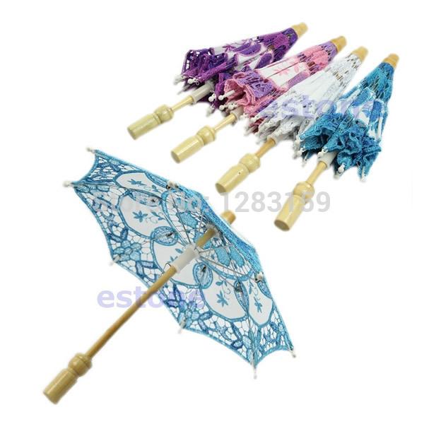 V115 Hot Selling New nupcial bordado Lace Wedding Party Parasol Umbrella Decoração 3Colorsff Frete Grátis(China (Mainland))