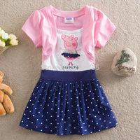 The girl's fashion dress peppa pig short sleeve children's cartoon dress,Free shipping