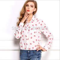 2014 women's Loose lips big sizes long sleeve shirt chiffon shirt printing free shipping