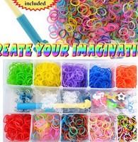 1set new 2014 15 grids 1800rubbers loom kit box Loom rubber bands Kit knitting machines Children fun loom