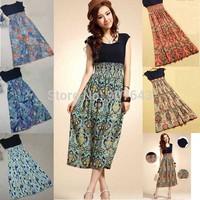 2014 Spring Summer Fashion Women Long Bohemian Maxi Dress Retro Print Sleeveless Chiffon Vest  Dress