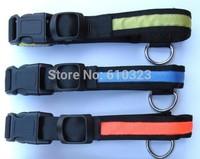 LED Nylon Pet Dog Collar Night Safety LED Light-up Flashing Glow in the Dark  mix color