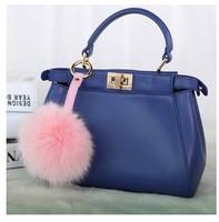 12cm diameter F Famous brand Real Fox Fur  ball bag Pendant  Bag Accessories hang decorations Super Quality Various color Option