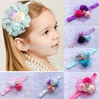 fashion 2014 New design baby rose rosette crystal button headband,kid's hair band, rhinestone flower lace headband