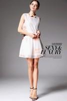 2014 Free shipping Career Women's Sexy Sleeveless Crew Neck Casual Silk  Sundress Top  Dress