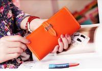 Promotion 2014 Fashion Candy Women's Wallets H buckle Lady Coin Purse Long Design holder carteira feminina Cheap bag Wholesale