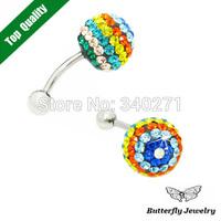 2014 New Design Exquisite Flower Navel Belly Bar Ring Body Piercing Titanium Belly Button Earrings nail Dual-Purpose Shambhala