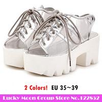7.5 cm 2014 New Women's Thick heels Open Toe Korea Sandals Fashion Summer Sweet  Sandals Women Sexy Shoes YY6- 830-13