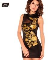 Fashion European sheath golden prints high collar sexy pespective sexy mini dress tight dress