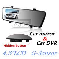 NEW!1920*1080P FULLHD Rearview mirror Car cam DVR, Novatek Car record, black box, 4.3 lcd+Night Vision+G-Sensor+Motion Detection