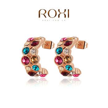Roxi брендовые элегантные женские cерьги ручной работы изготовлены из красного золота (позолота), трех разовое золотое напыление, украшены разноцветными австрийскими кристаллами, необычный , интересный дизайн