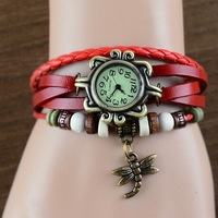 2pcs/lot Good Quality Women Genuine Leather Vintage Dress Watch bracelet Wristwatches Dragonfly,Free Shipping.