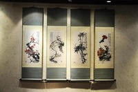 Classic  plum blossoms, orchid, bamboo and chrysanthemum Four screen Silk fabric art Chinese painting ,China post free shipping