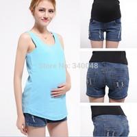 2014 summer new arrival fashion maternity jeans elastic waist belly pants pregnant women short designer jeans denim shorts M-XXL