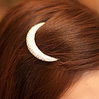 Korean Chic Crystal Moon Rhinestone Hair Clip Bang Clip Headdress Hairpin Clamps