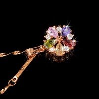 FREE SHIPPING C0475JB00390-3.5g Top quality 18K Gold Plated with colorful CZ Stones May Flower in Wind Pendant Necklace