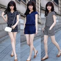 New 2014 Fashion Summer playsuit Women Casual Elastic Waist shorts Jumpsuits ladies Blue, Striped & cat Dots romper size - M-4XL