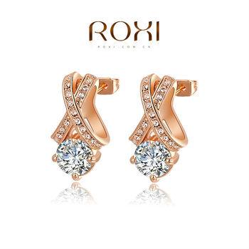 Roxi женские серьги-гвоздики ручной работы, изготовлены из красного золота (позолота), с трех разовым золотым напылением, серьги украшены австрийскими кристаллами и камнями из швейцарского циркония, высокое качество