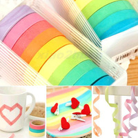 D19Free Shipping 1set Decorative Washi Rainbow Sticky Paper Masking Adhesive Tape Scrapbooking DIY