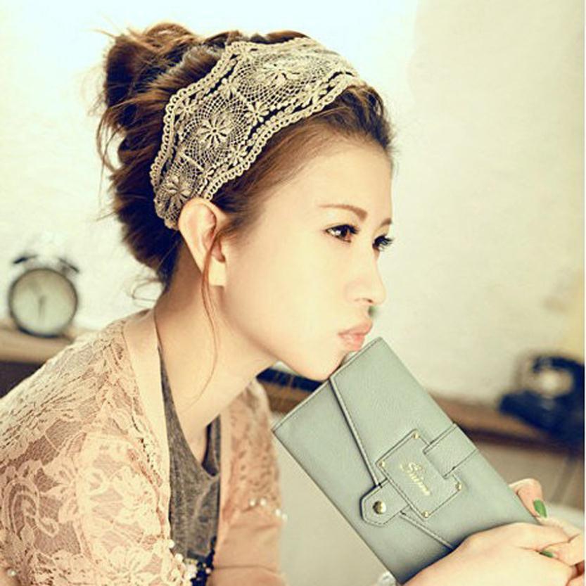 Women Fashion Fabric Lace Wide Stretch Headband Romantic Retro Cotton Headwrap(China (Mainland))