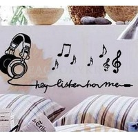 Free Shipping Removable Listen Music Notes Wall Sticker Vinyl Decal Home Decor 50x35cm 4007-324