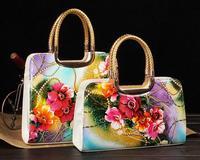Fashion handbag fashion flower paint printed canvas retro mobile inclined shoulder bag. Free shipping