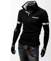 New 2014 grid color matching men's cultivate one's morality short sleeve shirts