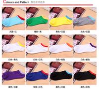 free shipping+50pcs/lot 2014 new man women Sports socks/candy color summer socks mix color