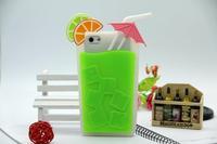 Hot 3D Summer Unique Shape Umbrella Lemon juice Cup Drink Bottle soft silicone Case Cover For iPhone 55S