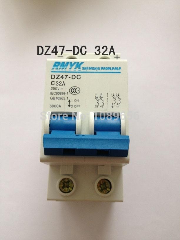 Автоматический выключатель N/a DZ47 2P 32 DC 250 MCB 2 C45 DZ47-DC 32A доска для объявлений dz 5 1 softbox j2a 538 jndx 2 s a