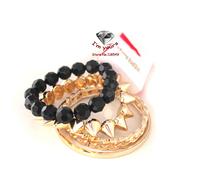 SZ8 Jewelry wholesale brand texture multilayer black gold bracelet 2pcs/lot