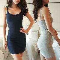 New 2014 Summer dress Sexy fashion Women Spaghetti Strap Bodycon Bottoming Dress Vestidos,White, Gray, Navy Blue, Black, Yellow