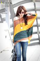 616 Summer Women's Fashion Batwing Shoulder off Chiffon Shirt Bohemian Tops Oversized Blouse