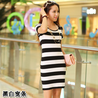 Free Shipping  2014 new Korean version was thin stripe package hip skirt Slim round neck striped short-sleeved dress