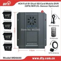 DTY MD6600G dvr 4 ch dual sd card h.264 dvr cctv system gps monitoring