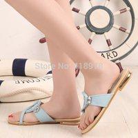 2014 leisure female fashion slippers soft rubber soles diamond flat sandals