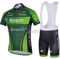 hot 2014 Europcar team short sleeve cycling jersey and bib shorts set/Ciclismo jersey/bicycle clothes/bike wear
