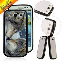 TPU+ PC Customized hard back cover Designer Case Skin for Samsung Galaxy S3 SIII I9300 LOBOS ANIMAL ZC0170 Free ship