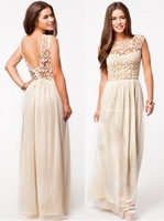 2014 Hot Sell Women Summer Dress Sleeveless White Embroidery Top Party Dresses Crochet Sexy Chiffon Maxi Dress