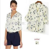 ST735 New Fashion Ladies' elegant Butterfly Bird Animal print blouse long Sleeve casual slim shirts blusas femininas V-neck tops