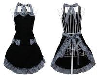 Black Kitchen Fashion Cute Sweety Hign Quality Cotton Grid Pattern  Flirty Apron