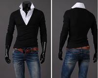 2014 Autumn Fashion False two piece slim  Premium Cara-Neck Men's T-shirts , shirt collar long-sleeve  Top&Tees,free shipping