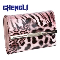 GB3005 New Fashion Hot sale Women's Medium-long Leopard Leather bag Female Brand Wallet Womens money clip Purse