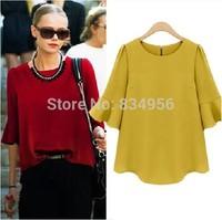 New 2014 European and American fashion women's clothing in summer dress Cotton chiffon shirt big yards T-shirt  blouse